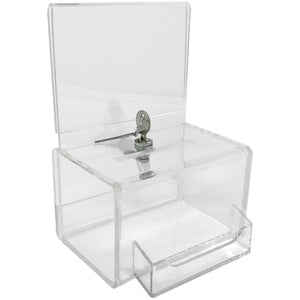 Clear Acrylic Mini Donation Box with Attached Business Card Holder, and Cam Lock and (2) Keys
