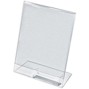 "Acrylic 8-1/2"" x 11"" Slanted Sign Holder with Business Card Holder"