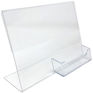 "Acrylic 7"" x 5"" Slanted Sign Holder with Business Card Holder"