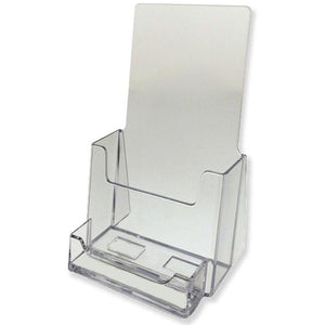 "Clear Acrylic 4"" x 9"" Tri-Fold Brochure Holder with Business Card Holder"
