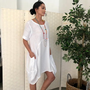 Linen Cocoon Dress - LaLunaLifestyle