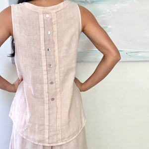 Linen Shell Top with Mother-of-Pearl buttons - LaLunaLifestyle