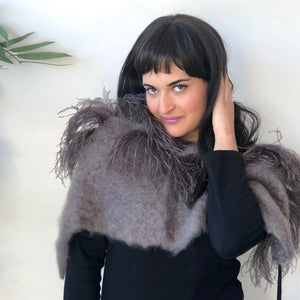 Ostrich Feather Mohair Shrug - LaLunaLifestyle