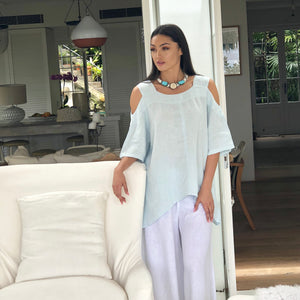 Linen Cold Shoulder Top - LaLunaLifestyle