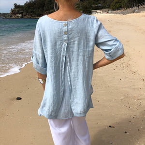 Linen Layered Top with Muslin - LaLunaLifestyle