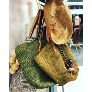 Crochet Raffia Tote with Leather Straps - LaLunaLifestyle