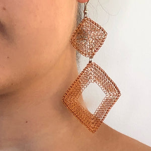 Handwoven Mesh Wire Drop Earrings - LaLunaLifestyle