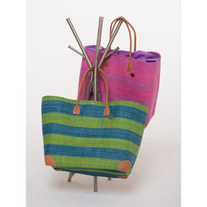 Raffia Basket with Leather Handles - LaLunaLifestyle