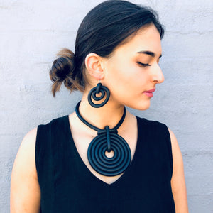 Upcycled-Rubber Earring Swirls - LaLunaLifestyle