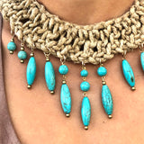 Hessian and Turquoise Choker