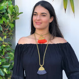 Mesh Wire with Cotton Tassel Necklace