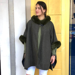 Reversible Cape with  Faux Fur