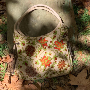 Hand Embroidered Duffel - Tote Bag - LaLunaLifestyle