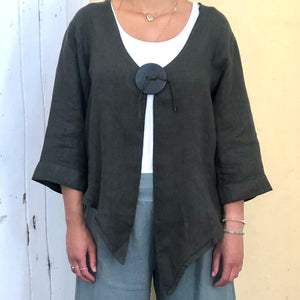 Asymmetrical Linen Jacket