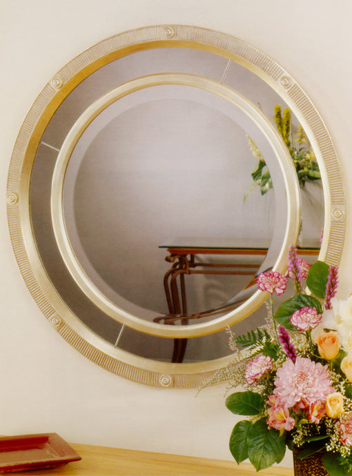 Contemporary Round with Mirror Panel and Rosettes