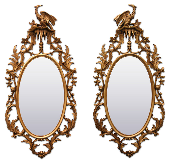 Pair of Oval George II Style Mirrors