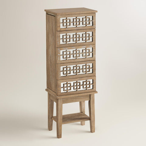World Market Wood Jewelry Storage Chest on the Laura James Jewelry Blog
