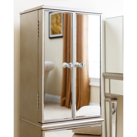 Abbyson Living Mirrored Jewelry Storage Chest Armoire