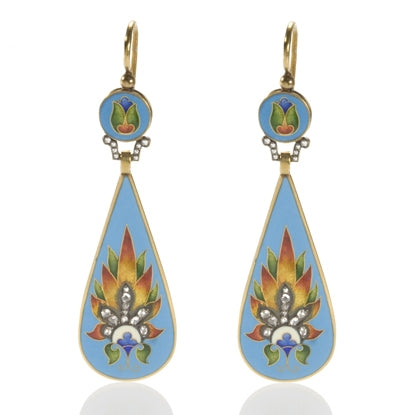 Turquoise Enamel Diamond Earrings Teardrop on the Laura James Jewelry Blog
