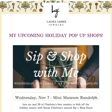 Charlotte Sip and Shop Laura James Jewelry at the Mint Museum