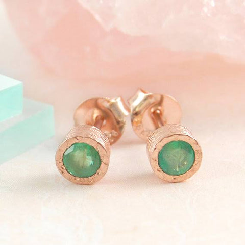 Artisan Emerald Stud Earrings | Laura James Jewelry Blog | Birthstone Jewelry | Emerald Earrings