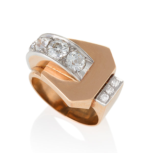 French Diamond Gold Buckle Ring on the Laura James Jewelry blog