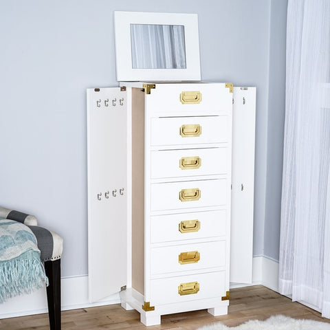 Hives and Honey Campaign White Jewelry Armoire Storage Chest on the Laura James Jewelry Blog