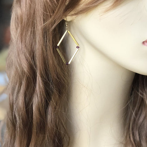 Modern Garnet Bar Earrings | Laura James Jewelry