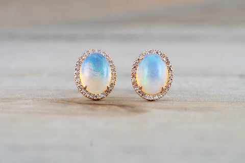 Opal Stud Earrings | Birthstone Opal Jewelry | Laura James Jewelry Blog