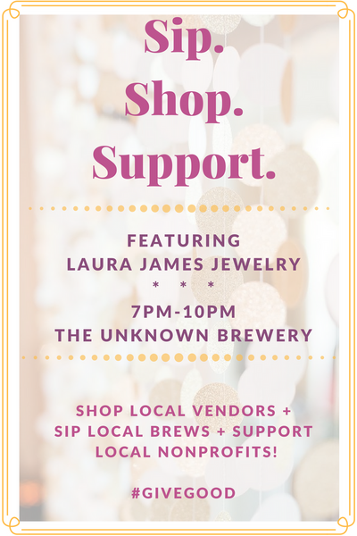 Giving Tuesday CLT at the Unknown Brewery featuring Laura James Jewelry November 15!