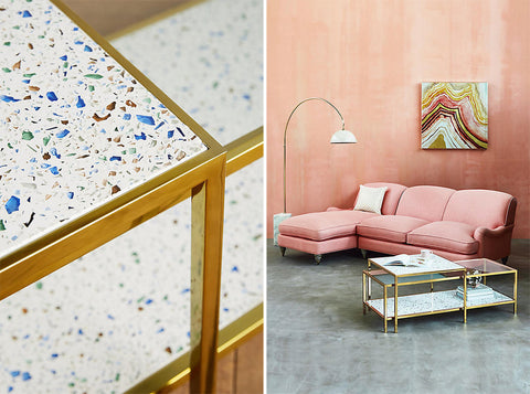 Anthropologie Terrazzo Coffee Table on the Laura James Jewelry Blog