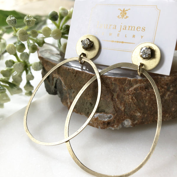 Large Gold Hoop Rhinestone Earrings