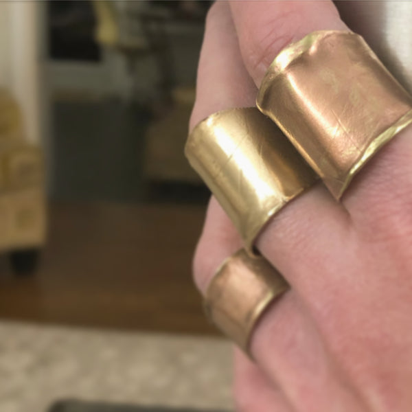 Handmade Metal Tube Ring in Copper
