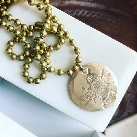 Vintage Bee Necklace on Ball Chain