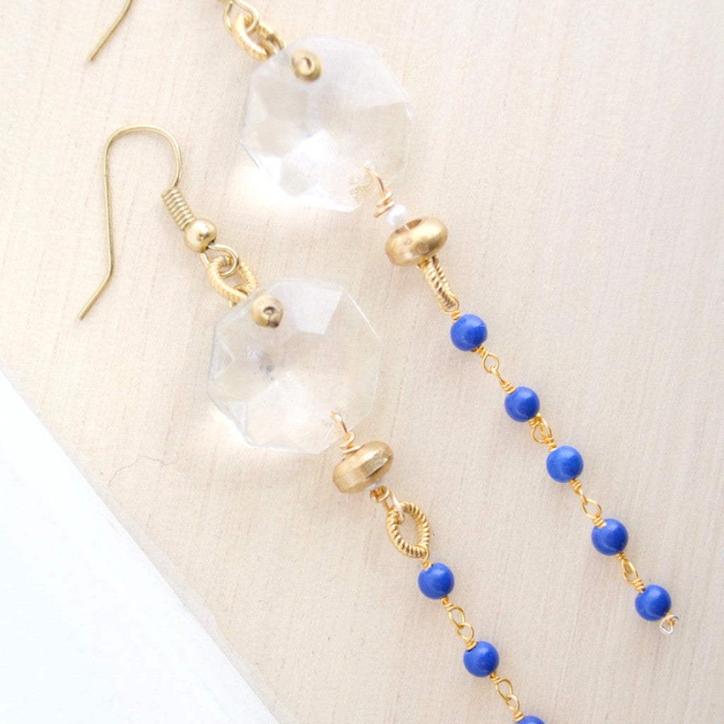 Gold Dangle Earrings I Lapis I Laura James Jewelry