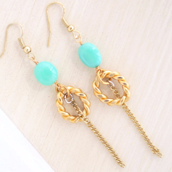 Gold Dangle Earrings I Chrysoprase | Laura James Jewelry