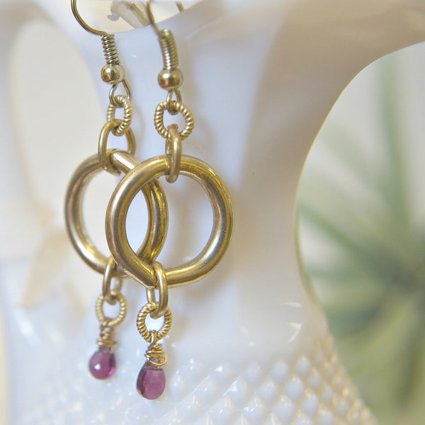 Gold Dangle Earrings with Stones | Garnets | Laura James Jewelry