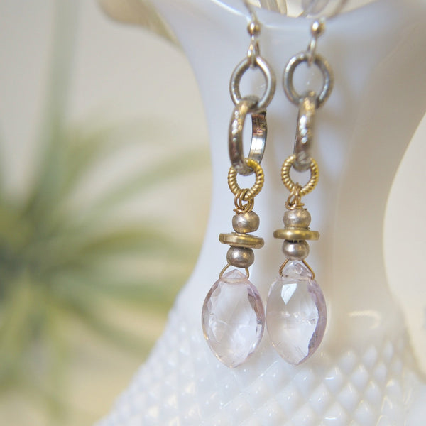 Mixed Metal Earrings with Pink Amethyst