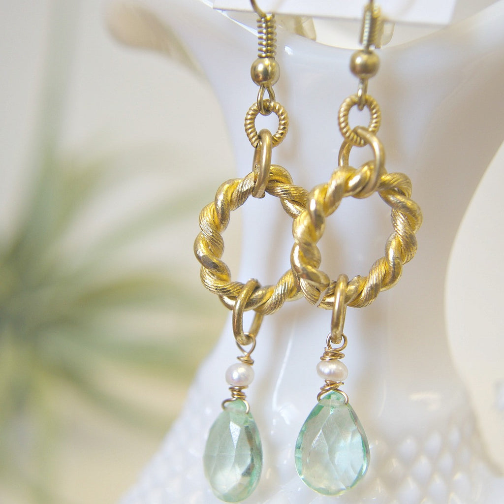 Gold Charm Earrings with Mint Green Stones