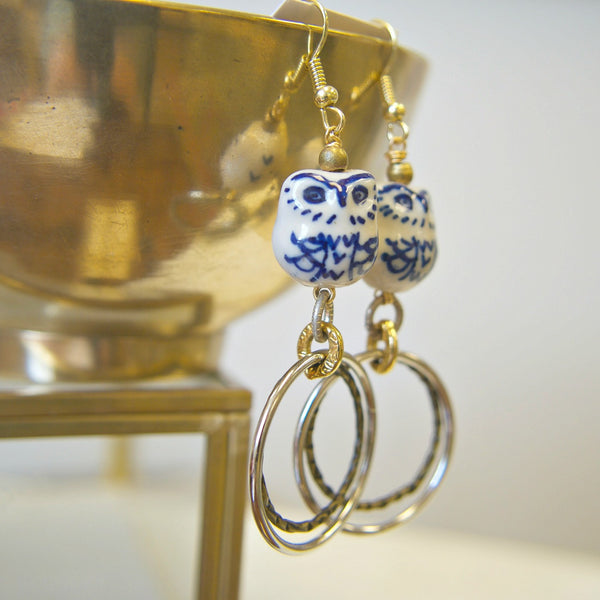 Hoop Earrings with Ceramic Owl Charms