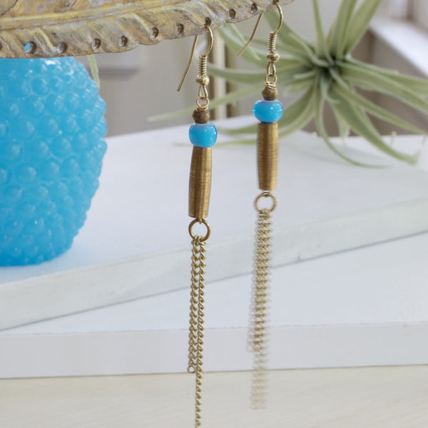 Handmade Gold Chain Earrings with Blue Glass