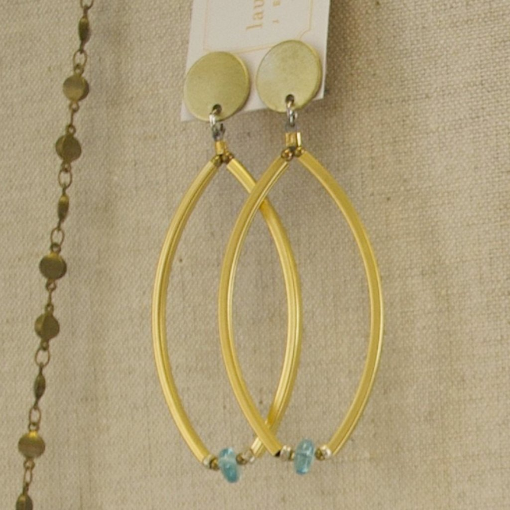 Gold Post Dangle Earrings with Blue Apatite Stones