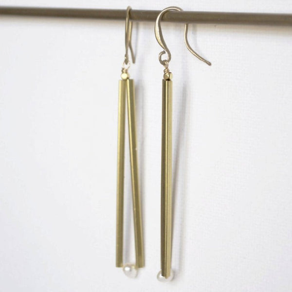 Pearl Gold Bar Earrings