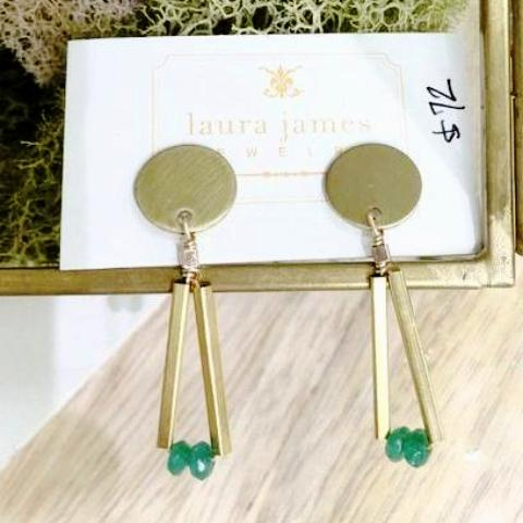 Gold Drop Earrings in Green Onyx