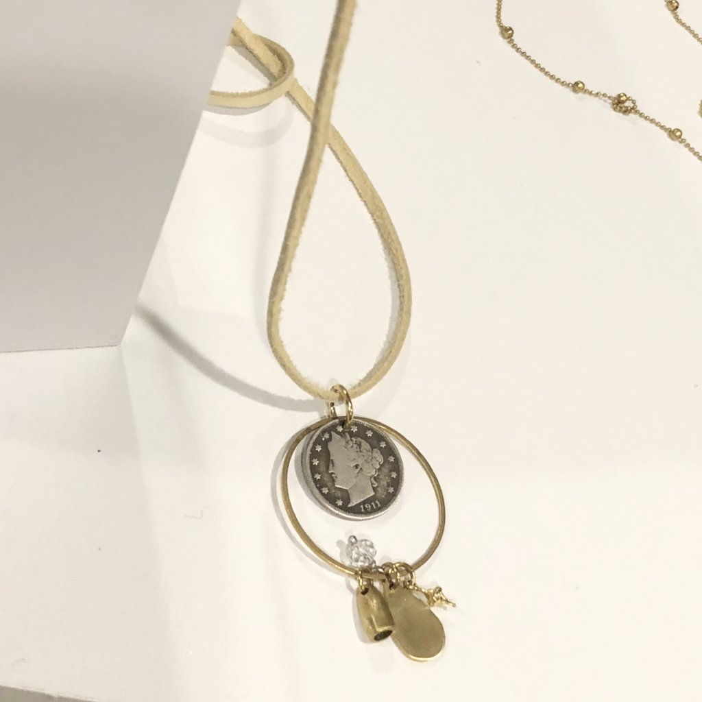 Leather Charm Necklace | Silver Coin | Laura James Jewelry