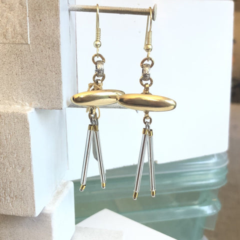 Silver and Gold Glass Charm Bar Earrings