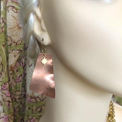 Hand Crafted Sculptural Copper Earrings