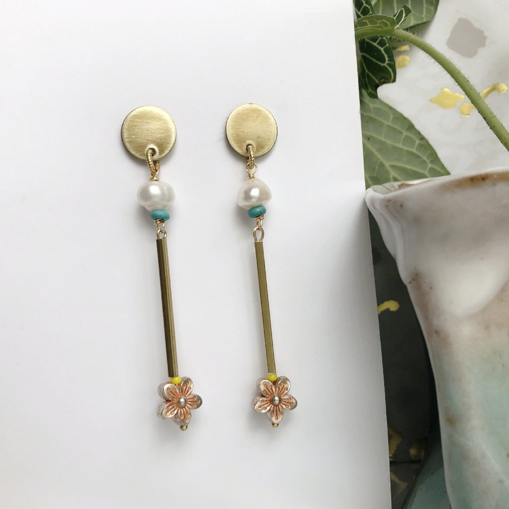 Pearl and Flower Bar Earrings