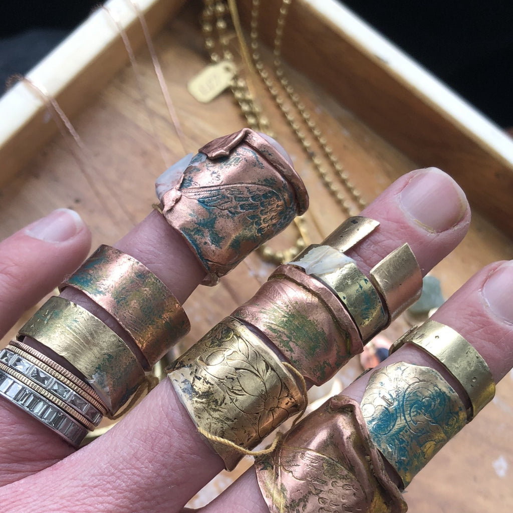 Handmade Metal Rings with Patina