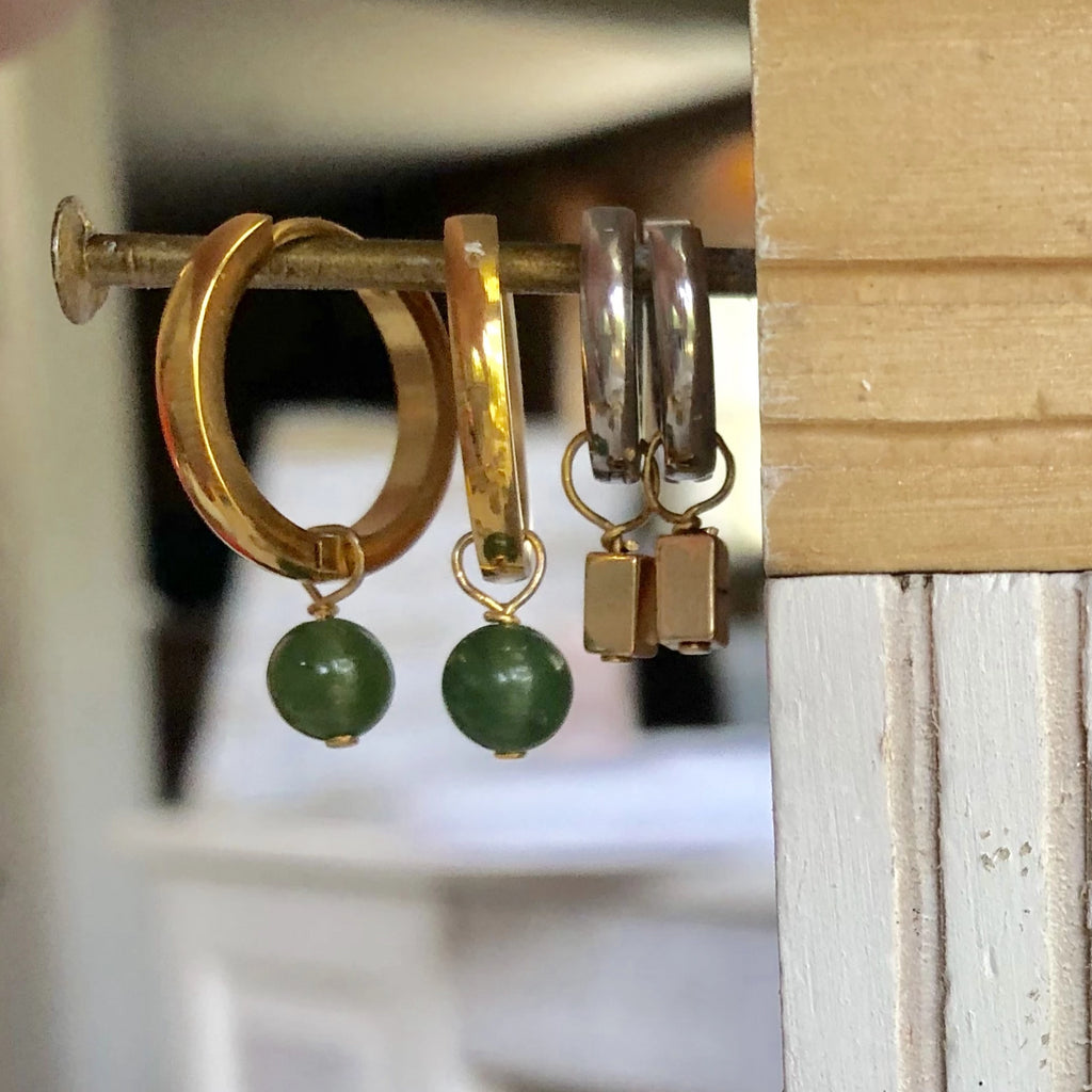 Gold Hoop Earrings I Jade Charm